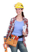 Portrait of gorgeous female carpenter — Foto Stock