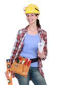 Retrato de carpinteiro feminino lindo — Foto Stock