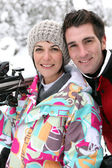 Portrait of couple in ski resort — Stock Photo