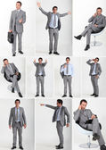 Collage of a man wearing a grey flannel suit — Stock Photo