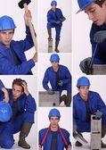Collage van een bouwvakker — Stockfoto