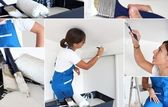 Montage of handywoman painting at home — Stock Photo