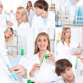 Photo-montage of chemistry students — Stock Photo