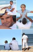 Mężczyzna i chłopiec na plaży — Zdjęcie stockowe