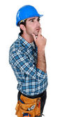 Builder deep in thought — Stock Photo