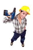 Tradeswoman gospodarstwa elektronarzędzia — Zdjęcie stockowe