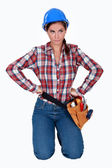 Frustrated female builder — Stock Photo