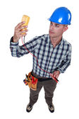 Electrician with multimeter — Stock Photo