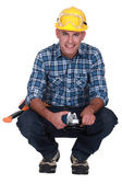 Man holding angle-grinder — Stock Photo