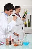 Testing wine in a laboratory — Stock Photo