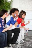 緊張したフランス サッカー サポーター — ストック写真