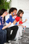 Tense French soccer supporters — 图库照片