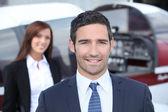 Portrait of a handsome businessman in blue suit — Stock Photo