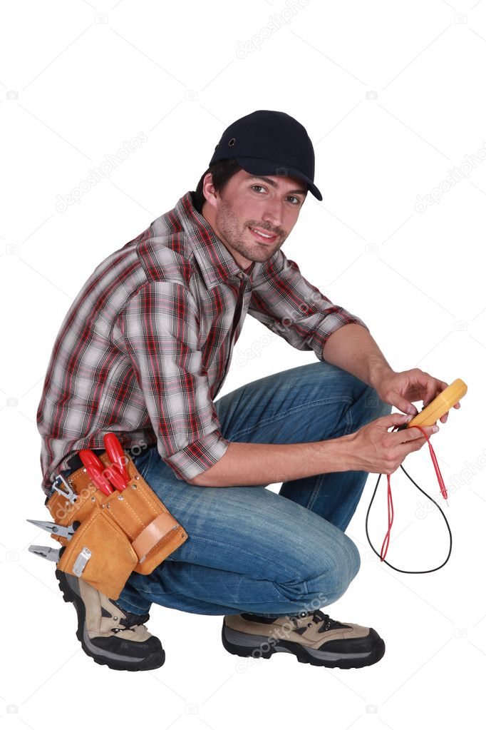 Man taking electrical reading — Stock Photo #8320246
