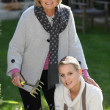 Mother and daughter gardening — Stock Photo #8331331