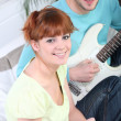 Couple writing song — Stock Photo