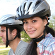 Stock Photo: Couple doing mountain bike