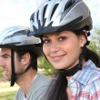 Couple doing mountain bike — Stock Photo #8332142