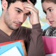 Student offering support to a stressed friend — Stock Photo