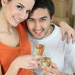 Couple happy in new home — Stockfoto