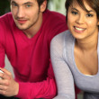 Young duo playing video games — Stock Photo