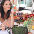 Stock Photo: Womshopping at local market
