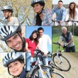 Collage of riding their bikes — Stock Photo