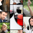Oenologists and wine producers examining wine - Stock Photo