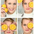 Blonde girl with orange — Stock Photo #8338748