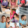 Montage of students in professional training - Stock Photo