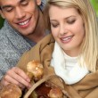 Young couple with basket full of mushrooms and chestnuts — Stock Photo