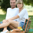 Stock Photo: Couple having picnic in park