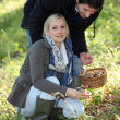 Couple picking mushrooms in a forest — Stock Photo #8339693