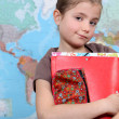 Young girl in geography class — Stock Photo