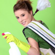 Foto Stock: Foxy young cleaner