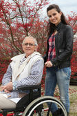 Genç kadın yaşlı bir bayan tekerlekli sandalyede bastırıyor — Stok fotoğraf