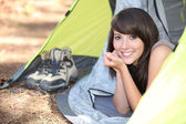 Woman in a tent — Stock Photo