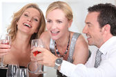 Three colleagues celebrating — Stock Photo
