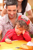 Father and little girl at Halloween — Stock Photo