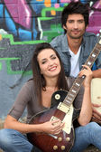 Duo musical — Fotografia Stock