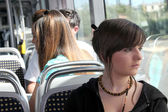 Young person on the tram — Stock Photo