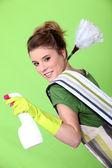 Foxy young cleaner — Stock Photo