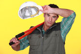 Construction worker wiping his brow — Stock Photo