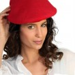Attractive woman in a beret — Stock Photo #8340241