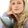 Blond woman reading magazine — Stock Photo #8340249