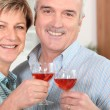 Middle-aged couple drinking wine in kitchen — Stock Photo
