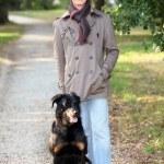 Senior walking his dog — Stock Photo