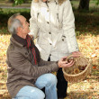 Middle aged couple going chestnut picking. — Stock Photo