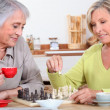 Mother and daughter playing chess — Stock Photo #8340973