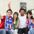 Italian football supporters at home — Stock Photo